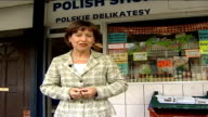 Fears over EU expansion E XT Polish hairdressers Close up of Polish food jars on grocery shop shelves EXT Reporter to camera England St George's flag...