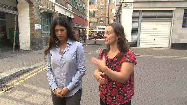 Impact of Airbnb on London housing market EXT Stephanie Toghill setup shots with reporter / interview SOT