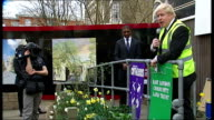 Impact of Help to Buy scheme for firsttime buyers in London Boris presented with trowel / Boris speech SOT / Boris leaves platform to applause /...