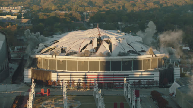 Implosion of Georgia Dome Stadium 'Georgia World Congress Center' on November 20, 2017, in Downtown Atlanta, Georgia.