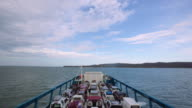 In a big ship towards to Stradbroke Island, Queensland, Australia
