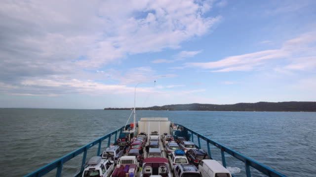 In a big ship towards to Stradbroke Island, Queensland, Australia