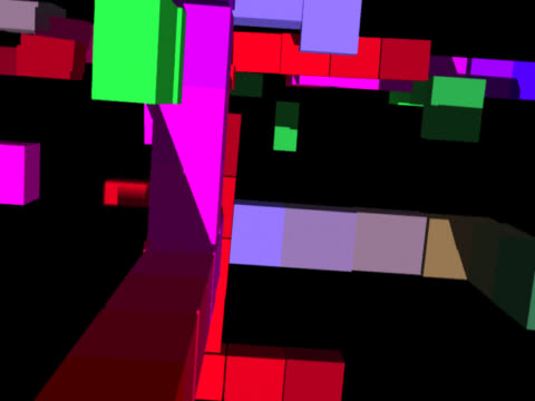 In bold colours - red, green, blue, pink, purple - an abstract cityscape has been formed, as though from a child's building blocks. Against a black background, the viewer is taken on a journey through this landscape.