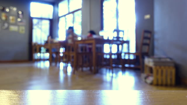in cafe or library
