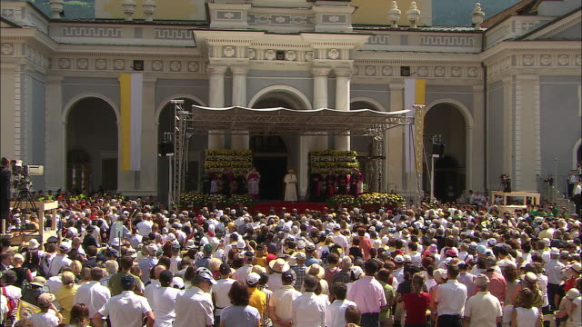 In front of the cathedral, pope in south tyrol