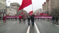 In Moscow on the occasion of International Workers Day around 140000 workers and students parade on Red Square waving Russian flags and balloons in a...
