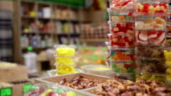 In the candy shop. Food background