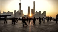 In the early morning,people do Taijiquan at the bund, Shanghai, China