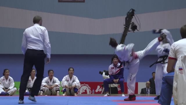 In the final bout of the taekwondo championships in Pyongyang North Korean women fighters secure the team sparring gold and the title of world...