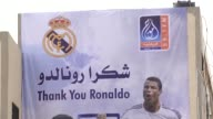 In Yarmouk stadium in Gaza city a big painting for Ahmad Dawabsheh and Cristiano Ronaldo were done there Honoring the role of having the kid in Real...