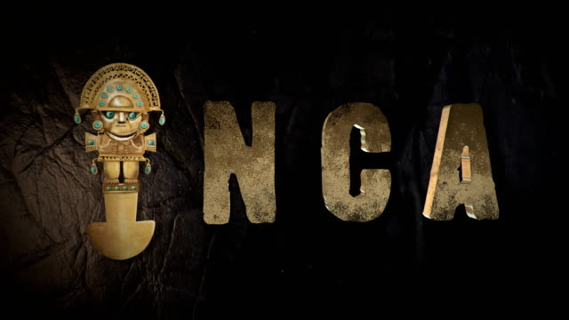 Inca 3D-titel met een tumi, een Peruaanse oude ceremoniële Trekmes