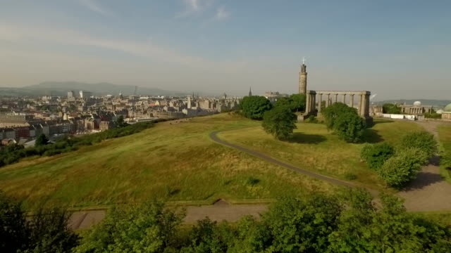 Incredible shot of Calton hill, revealing the skyline of Edinburgh, Scotland