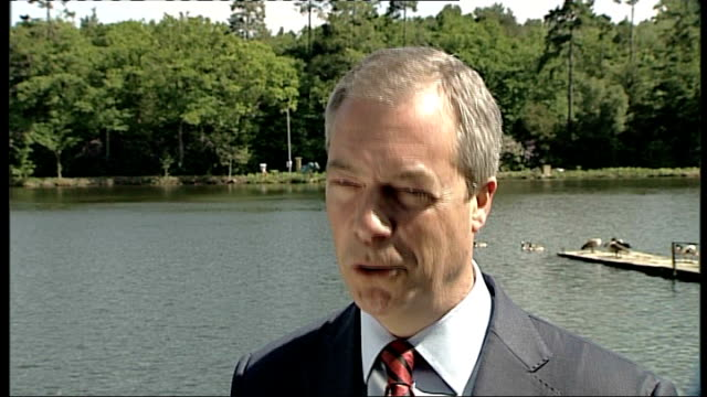 UK Independence Party South East Conference ENGLAND Surrey Frimley Green Lakeside Country Club EXT Reporter to camera Nigel Farage MEP interview SOT...