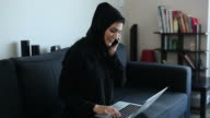 Independent Arab Woman Working at Home Office