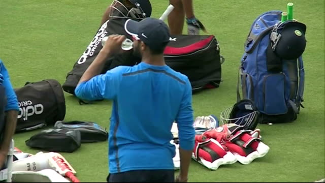 London Lord's Cricket Ground EXT India team players on cricket pitch including MS Dhoni / Cricket team practicing at nets