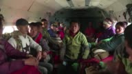 Indian air force helicopter escort 22 Indian and Nepalese trekkers who were stuck back to Kathmandu