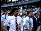 Indian cricket team do lap of honour with Prudential World Cup Bombay Jul 83