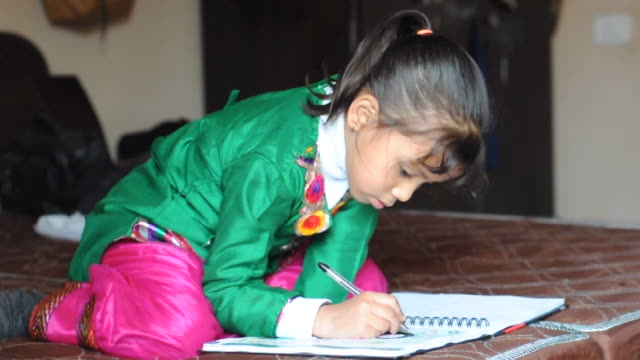 Indian girl studying on bed