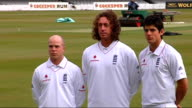 England cricket players Tim Ambrose Ryan Sidebottom and Alastair Cook modelling the new England Test kit at press photocall