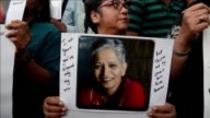 Indian protesters in Mumbai take part in a rally condemning the killing of journalist Gauri Lankesh whose death has sent shockwaves across the country