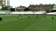 London Kennington Oval Cricket Ground EXT Indian team cricketers playing football / Indian Cricket players training on pitch / players practicising...
