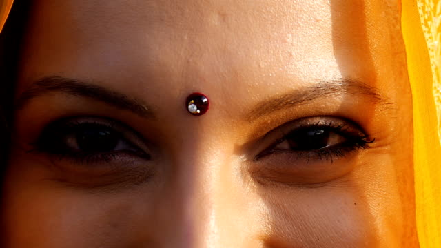 Indian woman eyes close up