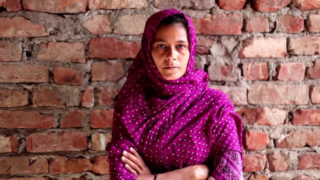 Indian women portrait on brick wall