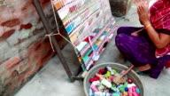Indian Women Weaving Textile (durry) .