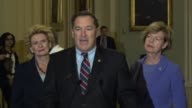 Indiana Senator Joe Donnelly says at a regular weekly press briefing that a number of jobs in his state have been shipped overseas including from...