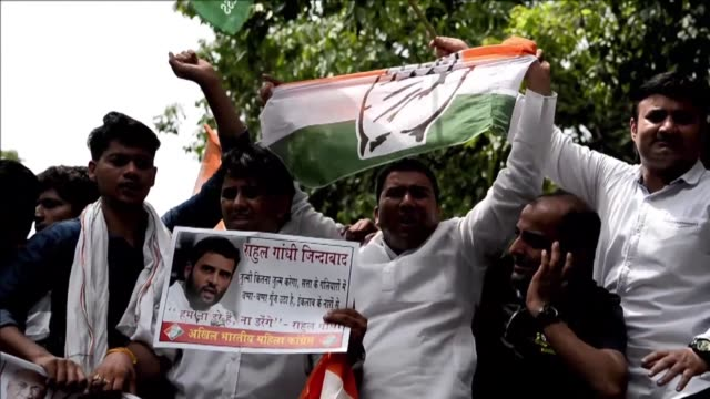 India's main opposition Congress Party stages angry nationwide protests blaming supporters of Prime Minister Narendra Modi for pelting stones at the...