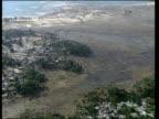 Indonesia Banda Aceh Relief effort/Annan visit CUTAWAYS EXT AIR VIEW Devastated coastline and communities