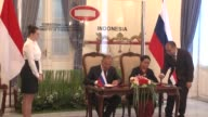 Indonesian Foreign Minister Retno Marsudi meets with her Russian counterpart Sergei Lavrov in Jakarta Indonesia on August 09 2017 Indonesia and...