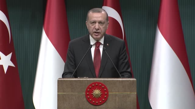 Indonesian President Joko Widodo holds a joint press conference with his Turkish counterpart Recep Tayyip Erdogan at the Presidential Complex in...