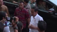Indonesian President Jokowi Widowo visits evacuees at camps in Klungkung in Bali as tens of thousands are forced to flee their homes amid fears of an...
