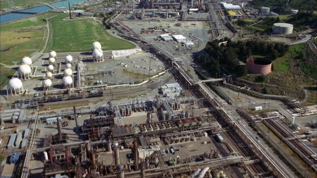 WS POV AERIAL Industrial aera of city  / San Francisco, California, United States