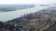 WS AERIAL POV Industrial area at Zug Island / Detroit, Michigan, United States
