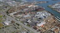 AERIAL Industrial area with dock / San Francisco, California, USA