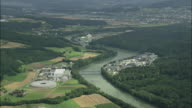 AERIAL Industrial buildings along Aare River, Aargau, Switzerland