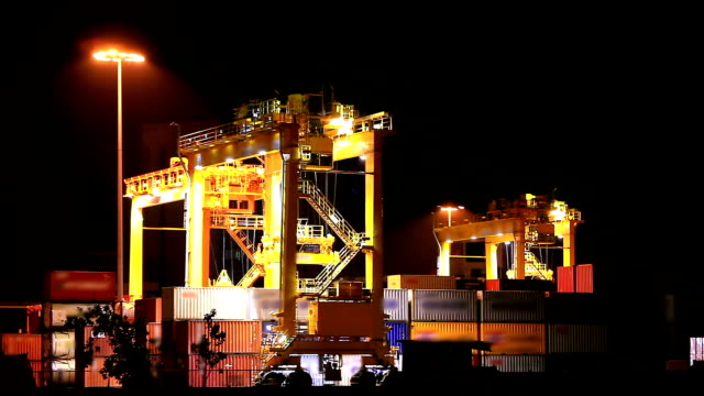 Industrial Crane car loading goods container in warehouse Port