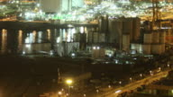 Industrial harbour night time lapse