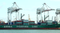 Industrial port with cargo containers ship