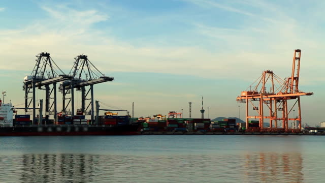 Industrial port with containers ship in the harbor