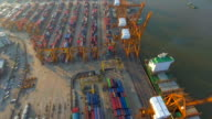 Industrial port with containers ship,Aerial view