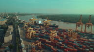 Industrial port with containers,Aerial view