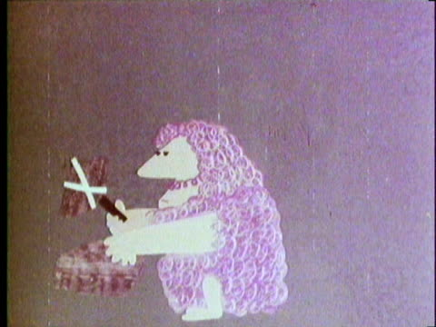 1970 REENACTMENT Industrial Revolution in England MONTAGE Animated cartoon of stone age man hurting himself with stone hammer, throwing it, '2001'-style, transforming into a modern-day hammer in the hands of inventor James Hargeaves