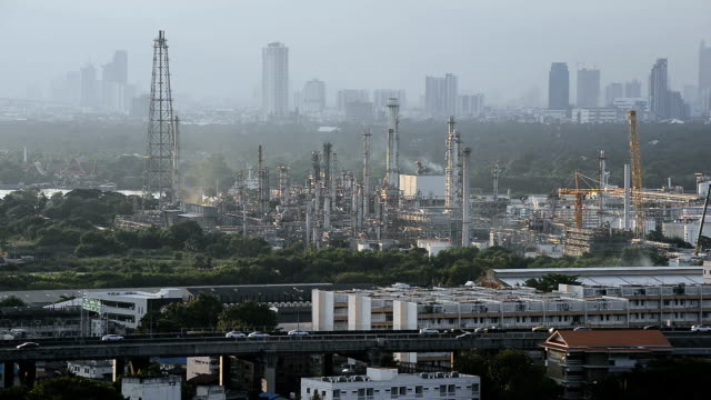 Industrial view at oil refinery plant near city