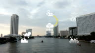 Industry 4.0 The future revolution cyber physical systems boat on Chaopraya river Taksin bridge Bangkok Thailand