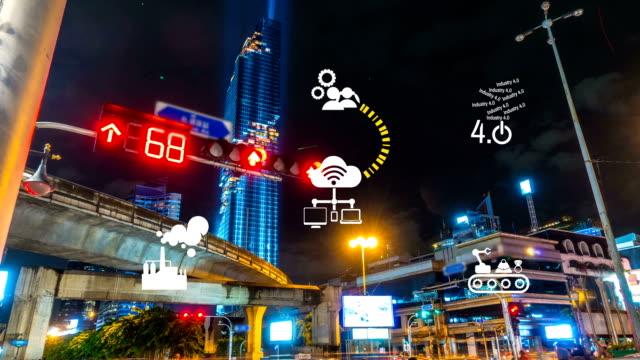 Industry 4.0 The future revolution cyber physical systems traffic Night at mahanakhon Bangkok Thailand