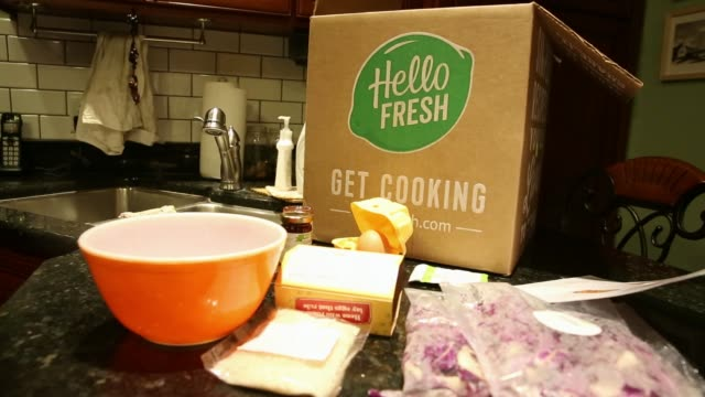 Ingredients from a Hello Fresh boxed meal kit are prepared for cooking in Tiskilwa Illinois US on Wednesday Nov 15 2017 Photographer Dan Acker Shots...