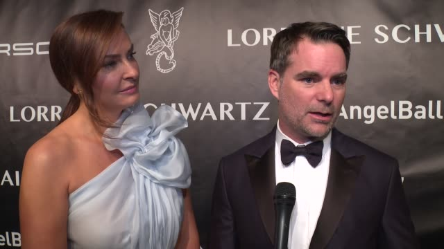 INTERVIEW Ingrid Vandebosch and Jeff Gordon talk about their foundation's focus on pediatric cancer at Angel Ball 2017 at Cipriani Wall Street on...